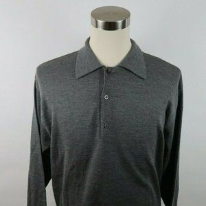 Barneys New York Mens L Merino Wool Polo Sweater